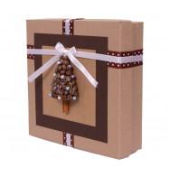 Коробочка подарочная (ручная работа), новогодняя, кофейная